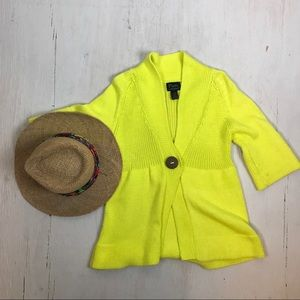 Neon Yellow Chunky Knit Summer Cardigan